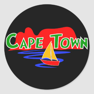Cape Town South African Black Round Stickers