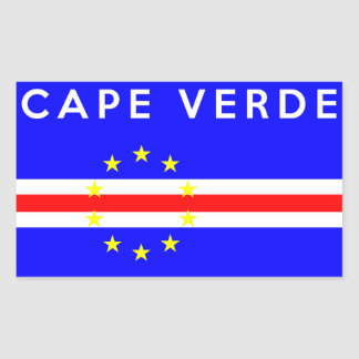 cape verde country flag symbol name text rectangular sticker