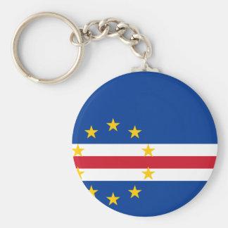 Cape Verde Flag CV Basic Round Button Key Ring