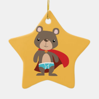 Caped Super Hero Bear Ceramic Ornament