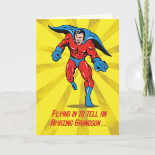 Caped Superhero Grandson 8th Birthday Card