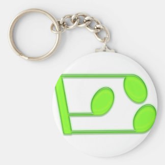 Capital American Letter E Basic Round Button Key Ring