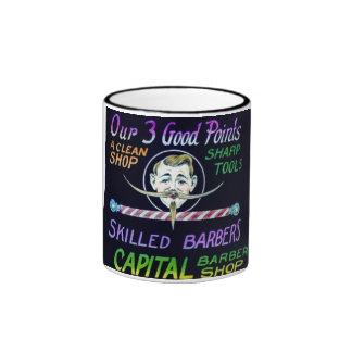 Capital Barber Shop Our 3 Good Points Vintage Ringer Mug