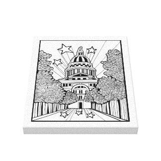 Capital Building Texas Line Art Design Canvas Print