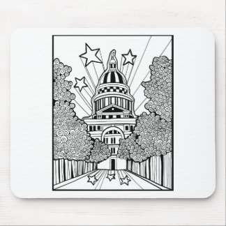 Capital Building Texas Line Art Design Mouse Pad
