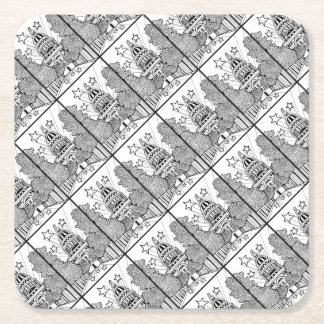 Capital Building Texas Line Art Design Square Paper Coaster
