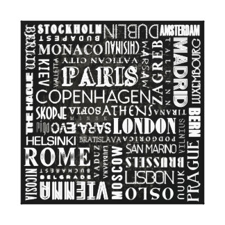 Capital Cities of Europe Canvas Print Wall Art