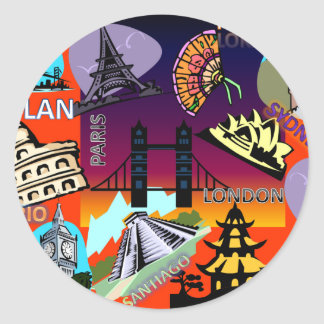 Capital cities of the world round sticker