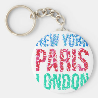 Capital New York Paris London typography, t-shirt Basic Round Button Key Ring
