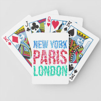 Capital New York Paris London typography, t-shirt Bicycle Playing Cards