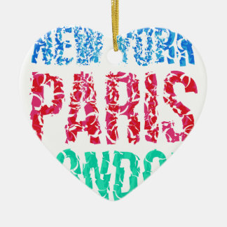 Capital New York Paris London typography, t-shirt Ceramic Heart Decoration