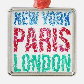 Capital New York Paris London typography, t-shirt Metal Ornament