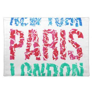 Capital New York Paris London typography, t-shirt Place Mats