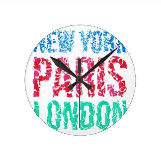 Capital New York Paris London typography, t-shirt Round Clock