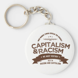 capitalism and racism basic round button key ring