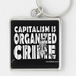 Capitalism is Organized Crime Silver-Colored Square Key Ring