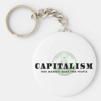 Capitalism Basic Round Button Key Ring