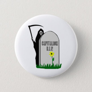 Capitalism R.I.P. Gravestone with Grim Reaper 6 Cm Round Badge