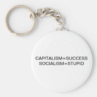 CAPITALISM=SUCCESS SOCIALISM=STUPID BASIC ROUND BUTTON KEY RING