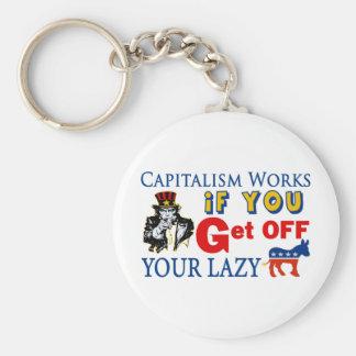 Capitalism Works Basic Round Button Key Ring
