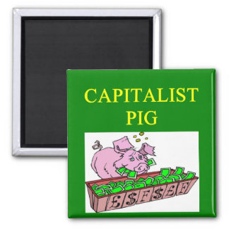 capitalist pig money joke square magnet