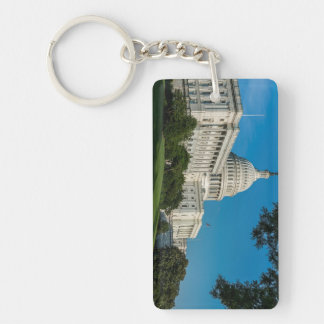 Capitol Building West View Double-Sided Rectangular Acrylic Key Ring
