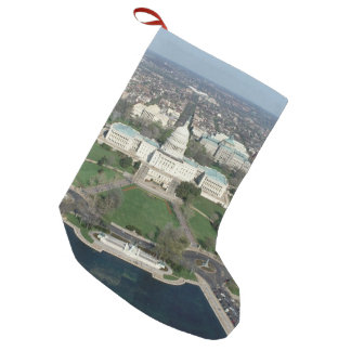 Capitol Hill Aerial Photograph 2 Small Christmas Stocking