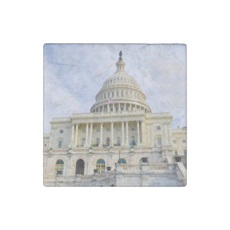 Capitol Hill Building in Washington DC Stone Magnet