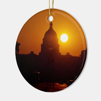 Capitol Hill Sunset Round Ceramic Decoration