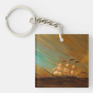 Capn' Arghh Comes to Town Single-Sided Square Acrylic Key Ring