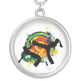 capoeira round logo necklace