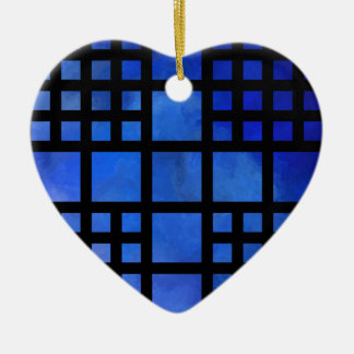 Cappanella V1 - blue squares Ceramic Heart Decoration