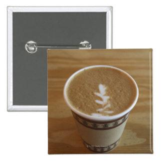 Cappuccino with tree design in foam 15 cm square badge