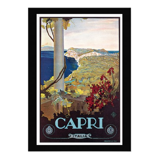 Capri, Italy Vintage Travel Poster Personalized Announcements