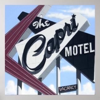 Capri Motel on Route 66 Retro Neon Poster