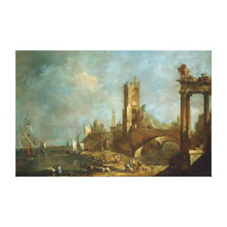 Capriccio of a Harbor Canvas Print