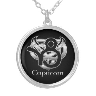 Capricorn Birth Sign Celtic Knot Zodiac Necklace Round Pendant Necklace