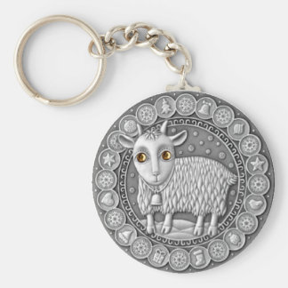 Capricorn Coin basic button key chain