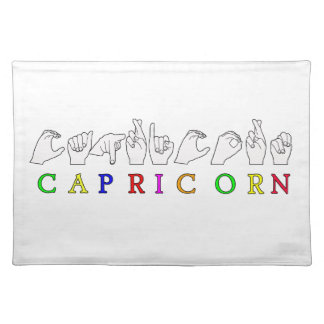 CAPRICORN FINGERSPELLED ASL NAME ZODIAC SIGN PLACEMAT
