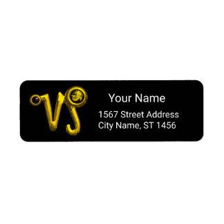 CAPRICORN GOLD ZODIAC BIRTHDAY JEWEL Black Onyx Return Address Label