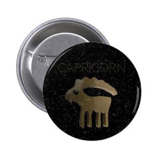 Capricorn golden sign 6 cm round badge
