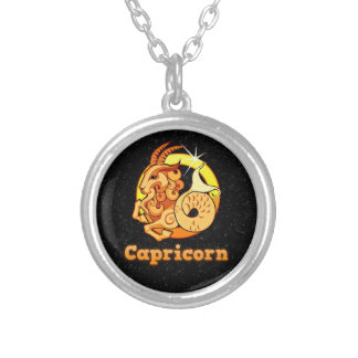 Capricorn illustration silver plated necklace