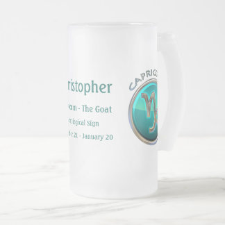 Capricorn - The Goat Astrological Sign Frosted Glass Beer Mug