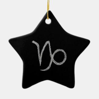 Capricorn. Zodiac Astrology Sign. Black. Ceramic Star Decoration