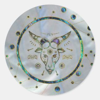 Capricorn Zodiac Gold Abalone on Constellation Classic Round Sticker