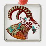 Capricorn Zodiac - Ibex Silver-Colored Square Decoration
