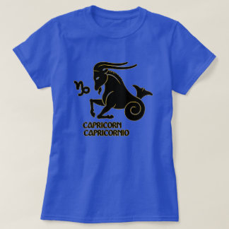Capricorn Zodiac sign Black Gold Modern T-Shirt, T-Shirt