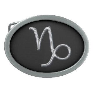 Capricorn Zodiac Sign-Chrome Color Oval Belt Buckles