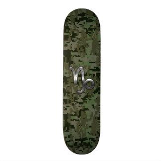 Capricorn Zodiac Sign on olive green digital camo Skate Board