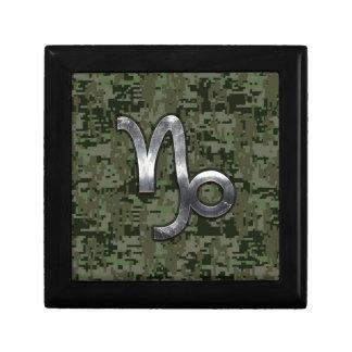 Capricorn Zodiac Sign on olive green digital camo Small Square Gift Box